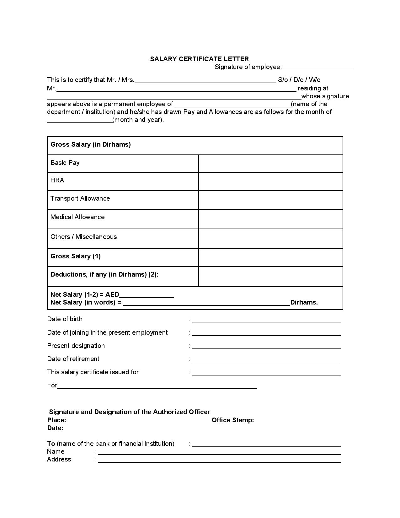Salary Certificate Letter Template UAE